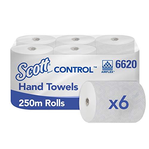 Scott Control, 6620, Rolled Hand Handdoeken, 1 Ply, Wit, 6 Rollen x 250 m