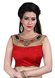 2abd8bfedb 199 Store Shreeji Designer Pearl and Diamond Work Red Color Ready Made  Blouses