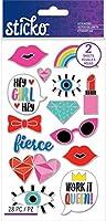 Sticko Flat Stickers-Girly Enamel Pin, 28/Pkg