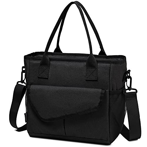 VASCHY Lunch Bag for Men and Women, Thermal Insulated Bag Lunch Box Picnic Bags with Double Compartments for Work School Travel with Shoulder Strap Black