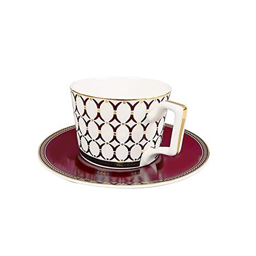 Hueso China taza de té/tazas de café y platillos conjuntos con cucharas-200 ml, para hogar, restaurantes, exhibición y regalo de vacaciones para familiares o amigo C-1 set
