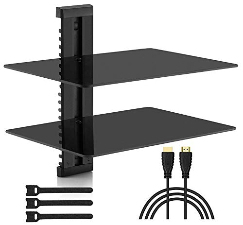 PERLESMITH Floating AV Shelf Double Wall Mount Shelf - Holds up to 165lbs - DVD DVR Component Shelf with Strengthened Tempered Glass - Perfect for PS4 Xbox TV Box and Cable Box
