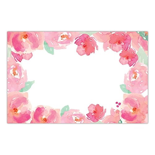 DB Party Studio Paper Placemats Pink 25 Count Disposable Place Mats For Parties Peonies Watercolor Floral Event Party Decor Kitchen Table Setting Dinner Decoration 17' x 11' Thick Paper Hostess Pack