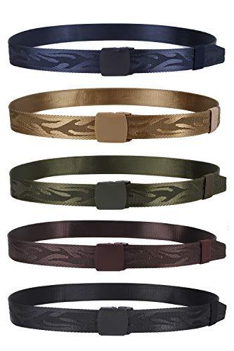 Man Belt Nylon Military Tactical Belt 5 Pack Webbing Canvas Outdoor Web Belt with Plastic Buckle(5 Color)