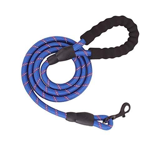 ZMKW 1.5m 2m 3m Cuerda de Perro Nylon Reflectante Reflectante Grande Correa de Perro Fortalecer el Gancho Gran arnés de la tracción del Perro con la manija cómoda(Azul Profundo)