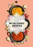 mi delicioso  recetas: Mi libro de recetas para 120 recetas diferentes, con 4 compartimentos: entrada, plato principal, postre y otra receta. 8.27 'x11.69' A4