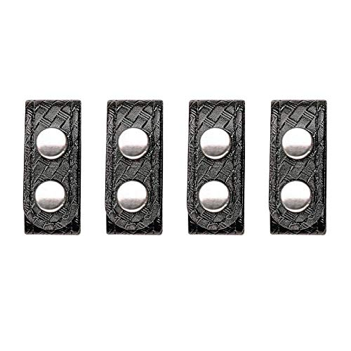 Bianchi AccuMold Elite 4-Pack 7906 Chrome Snap Belt Keepers (Basketweave Black)