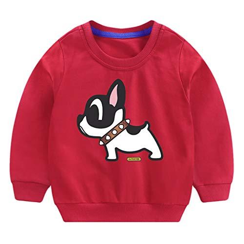 QinMM 0-6 años Bebé Niños Niñas Tops Algodón Perro de Dibujos Animados...