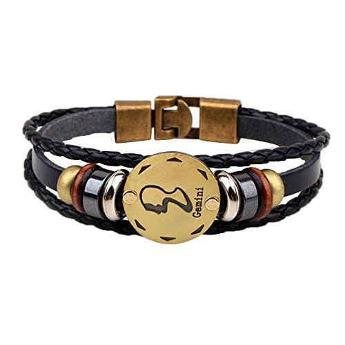 WooCo 12 Konstellationen Armband Modeschmuck Leder Armband Persönlichkeit Armband Sale(I)