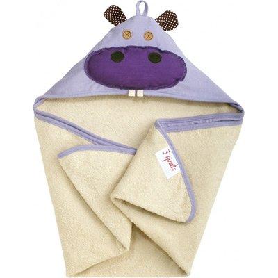 3 sprouts - Cape de bain Hippopotame - Ecru, violet
