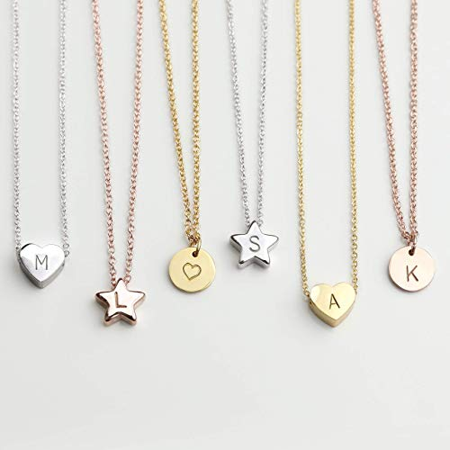 HEART STAR DISC Necklace with Initial Personalized Necklace Baby Girl Kids Jewelry Holiday Gift Flower Girl Dainty Monogram Charm Gold Your Name Necklace Gift for Her - HTS