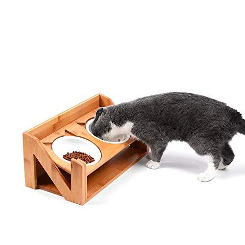 Gpzj Abgeschrägter, erhöhter Futterautomat für Hunde und Katzen, doppelter, angehobener Ständer mit Zwei zusätzlichen Keramikschalen, höhenverstellbar, für Katzen und Hunde geeignet