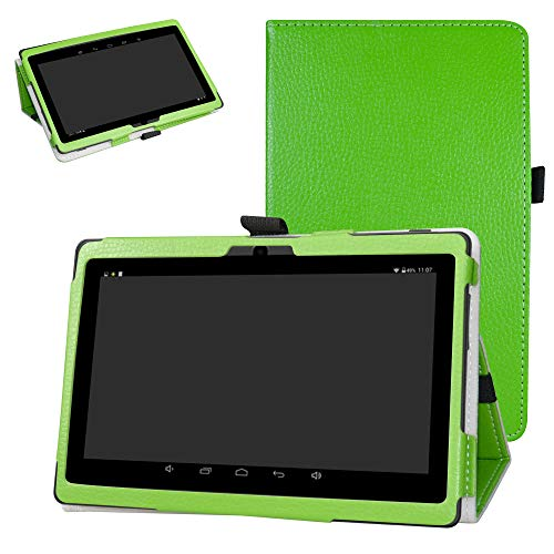"iRULU X37 Case,Bige PU Leather Folio 2-Folding Stand Cover for 7"" iRULU X37 Android 8.1 Tablet,Green"