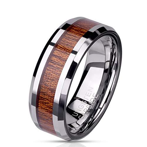 Paula & Fritz® Ring Herren Wolframcarbid Holz-Inlay Gr. 62 (19,7) Silber 8-mm Breit Herren-Ring Partnerring Damen-Ring Bandring Ehering Verlobungsring