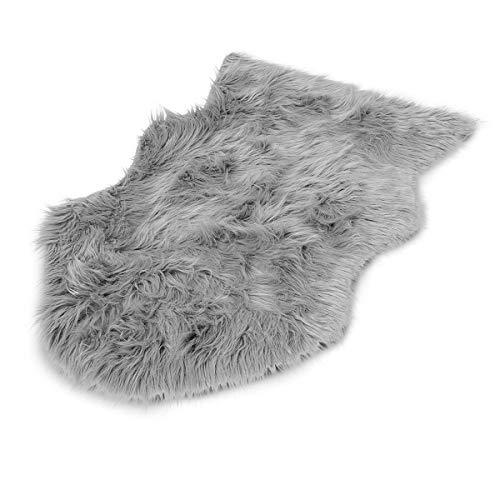 Navaris Alfombra de Pelo Largo sintético - Manta de imitación de Piel Oveja para sofá Silla o Cama - 60 x 90CM - Alfombrilla en Gris