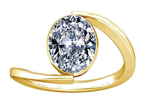 Divya Shakti 12.25-12.50 Carat American Diamond Oval Zircon Gemstone Panchdhatu Ring for Women