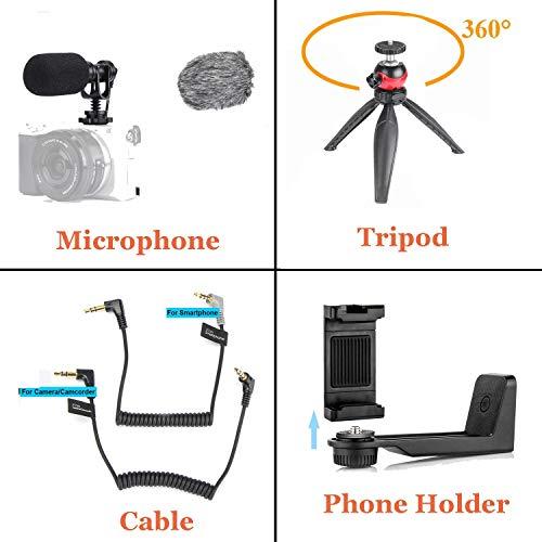 EACHSHOT Richtmikrofon Kamera Mikrofon mit Tischstativ Handyhalterung, Shotgun DSLR Video Externes Mic Kondensator Kardioide Windschutz für Smartphone Canon Sony Nikon Panasonic Camcorder