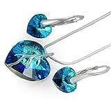 LillyMarie Damen Silber Schmuckset Sterling-Silber 925 Swarovski Elements Herz-Anhänger Blau Längen-verstellbar Geschenkverpackung Geschenkideen für die Frau Weihnachten