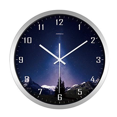 Everyday home Horloge murale minimaliste moderne ronde muet non-ticking ciel intérieur nuit blanche conception batterie horloge à quartz (Couleur : Silver, taille : 12 pouces)