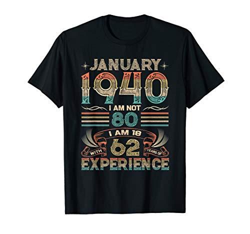 80th. Geburtstag Geschenk Legendär seit Januar 1940 T-Shirt