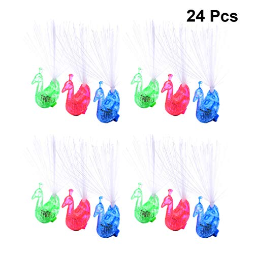 Toyvian LED Light Up Rings Fiber Optic Lamp Finger Novelty Lamp Lights Flashing Ornaments Battery Powered for New Year Party Favor 24pcs (Mixed Color)