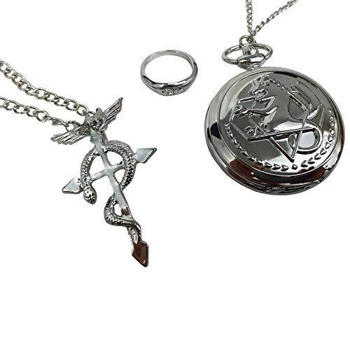 Katara Fullmetal Alchemist Set 3 Pcs-Reloj de Bolsillo, Colgante, Anil