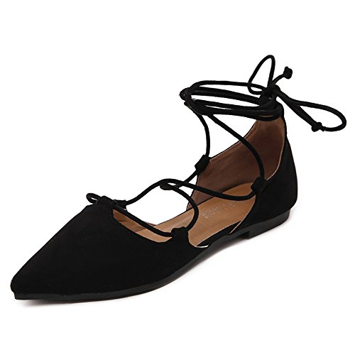 Meeshine Womens D'Orsay Pointy Toe Ankle Strap Wrap Ballet Flats Lace Up Flat Shoes Black US 6