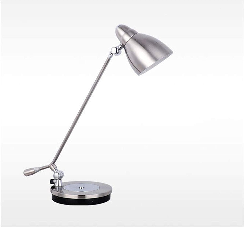 SUA ONG Tischlampe, Langarm Metall Rotierende Studie Büro Student Study Arbeitsgerte LED Lichtquelle Auge Lernen Tischlampe, Tischlampe -08 (Farbe   Silber)