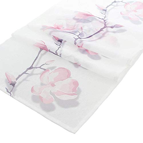 SIDCO Tischläufer Magnolie Tischdecke Tischband Deko Läufer Frühling Blüten 45x150cm