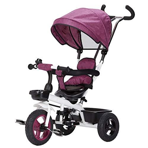 Children's met drie wielen, fiets, kinderwagen, fiets, kinderwagen, niet-opblaasbare leiding voertuig (Color : A)