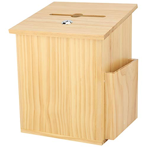 Finished Natural Wood Charity Donation & Suggestion Box Office Ballot Box with Pocket Comes with Locking Hinged Lid for Table Or Counter-top use (Natural Wood)