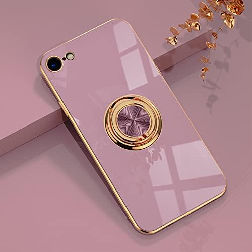 EYZUTAK Hülle für iPhone 7 iPhone 8 SE 2020, Glänzend Weiche Silikon TPU Slim Hülle mit 360 Grad Ring Ständer Bumper Stoßfest Schutzhülle Fingerhalter Magnetische Autohalterung Cover - Lila