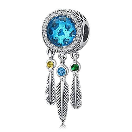 ZiNuo Ciondoli acchiappasogni per braccialetto in argento Sterling 925 con cristalli colorati a forma di fiore di piuma, per braccialetti europei e Argento, colore: Perline di vetro blu., cod. SC-961
