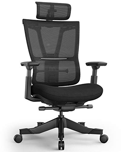 Ergonomic Office Chair, Reclining Home Office Desk Chair with High-Back Lumbar Support Height Adjustable Seat Headrest Breathable Mesh Back and Soft Foam Seat Cushion, Swivel Computer Task Chair