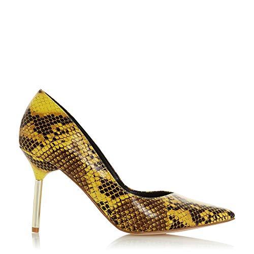 Dune Damen Business Pumps mit Metallabsatz und V-förmigem Ausschnitt Gelb 38 Gelb Stilettoabsatz