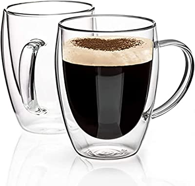 Double Walled Glass Coffee Mugs Glass Mug With Handles Double Wall Cappuccino Cups, 12oz Of Set 2 Coffee/tea Mugs, Clear Glasses Large With Handle