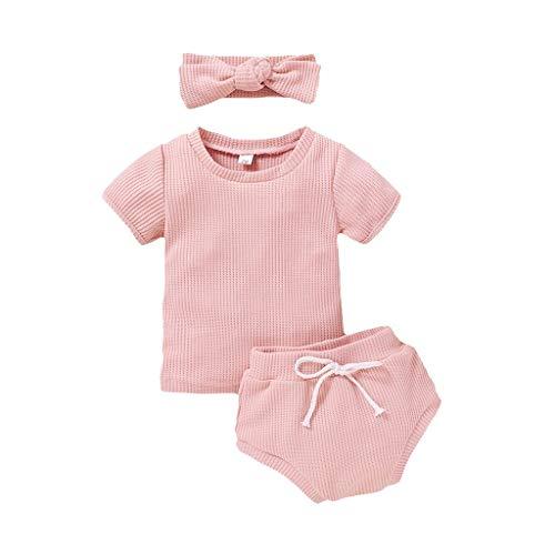 LEXUPE Kleinkind Baby Mädchen Kurzarm Solid Tops + Shorts Stirnbänder Outfits Set(Rosa,90)