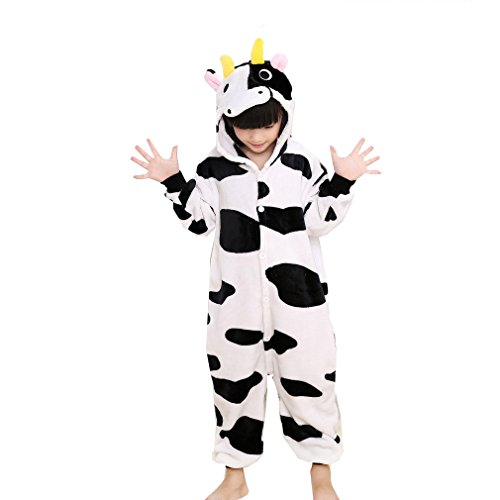 Z-Chen Pigiama Tutina Costume Animale, Bambina e Bambino, Mucca, 3-4 Anni
