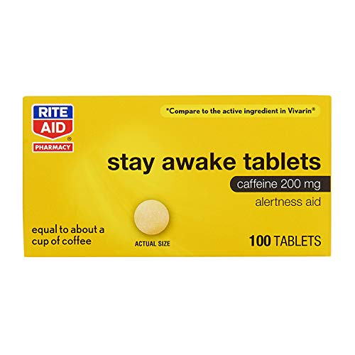 Rite Aid Stay Awake Tablets Caffeine, 200 mg - 100 Tablets   Caffeine Pills   Caffeine Supplement   Caffeine Pills 200mg   Equal to About a Cup of Coffee   Mental Alertness Aid   Energy Pills