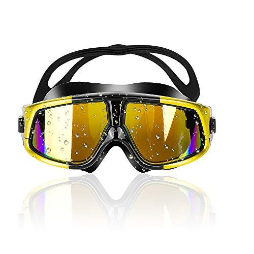 Zorara Gafas de natación para adultos, gafas de natación con antivaho y protección UV, unisex, entrenamiento, tiempo libre, revestimiento antivaho, gafas de natación para hombres y mujeres, amarillo
