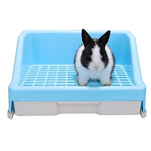RUBYHOME Rabbit Litter Box with Drawer,Potty Trainer Corner Toilet Litter Bedding Box Bigger Pet Pan...