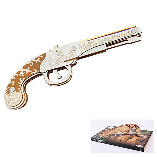 Wooden Construction 3D Puzzle Toy, Rubber Bands DIY Wooden Gun, Laser Marking Gun Model Building Kits Suitable for Developing Intelligence