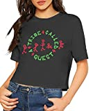 Honyse A Tribe Called Quest Summer Women Casual Stylish Current Customized Navel Soft Cotton T-Shirt,Black,L