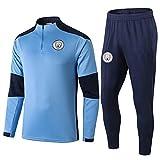 PARTAS Conjuntos de Ropa de Manga Larga Manchester City Football Club chándales Equipo de Entrenamiento de Competencia Uniforme Traje Traje for Hombre de Manchester City 2 Piezas (Size : S)