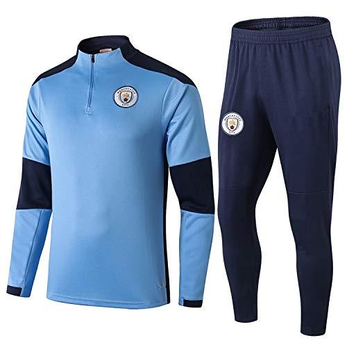 PARTAS Langarm Manchester City Tracksuits Football Wear Verein Uniform Trainingsanzug Wettbewerb Anzug Manchester City Mens 2 Stück Sets (Size : S)