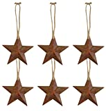 Rustic Metal Wall Hanging Star Country Patriotic Ornament, 5 1/2 Inch, Pack of 6