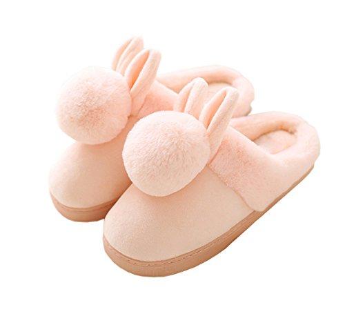Rojeam Pantofole del Coniglio delle Ragazze delle Signore Scivolano sulle Pantofole Calde della Peluche della novità degli Uomini delle Donne, 38/39= CN 37/38 EU