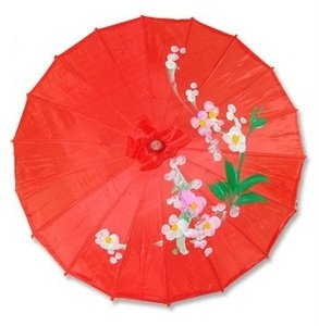 JapanBargain 2161, Chinese Parasol Japanese Asian Nylon Umbrella Parasol for Photography Cosplay Costumes Wedding Party Home Decoration Adult Size, 32 inch, Red
