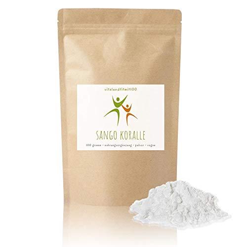 Sango Koralle Pulver - 100 g - basisches Mineralpulver - Kalzium und Magnesium - in geprüfter Qualität - 100% Natur pur - glutenfrei, laktosefrei - OHNE Hilfs- u. Zusatzstoffe