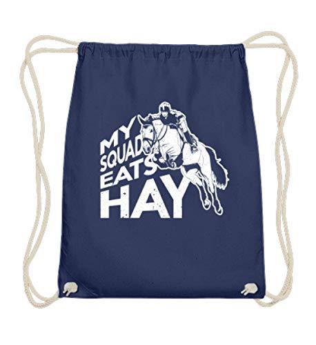 PlimPlom My Squad Eats Hay Tasche - Reitsport Pferde Reiter Spruch Beutel - Baumwoll Gymsac -37cm-46cm-Marineblau